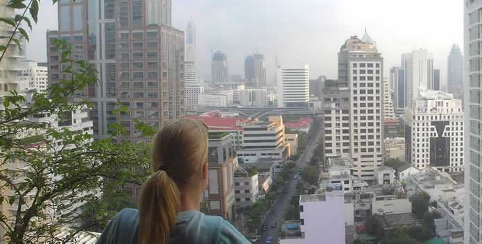 view over bangkok from high-rise condo unit